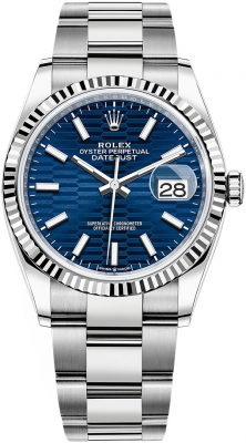 Rolex Datejust 36mm Stainless Steel 126234 Bright Blue Fluted Oyster