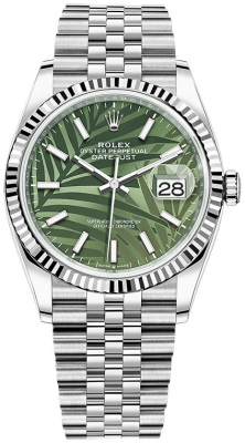 Rolex Datejust 36mm Stainless Steel 126234 Olive Green Palm Jubilee