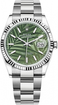 Rolex Datejust 36mm Stainless Steel 126234 Olive Green Palm Oyster