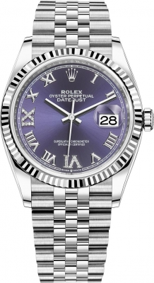 Rolex Datejust 36mm Stainless Steel 126234 Aubergine Roman VI IX Jubilee