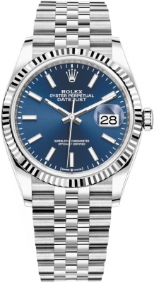 Rolex Datejust 36mm Stainless Steel 126234 Blue Index Jubilee