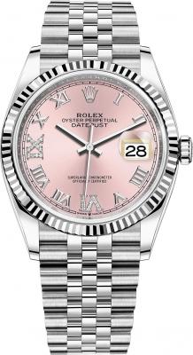 Rolex Datejust 36mm Stainless Steel 126234 Pink Roman VI IX Jubilee