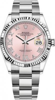Rolex Datejust 36mm Stainless Steel 126234 Pink Roman VI IX Oyster