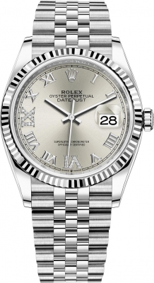 Rolex Datejust 36mm Stainless Steel 126234 Silver Roman VI IX Jubilee
