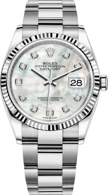 Rolex Datejust 36mm Stainless Steel 126234 White MOP Diamond Oyster