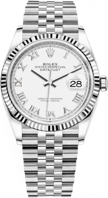 Rolex Datejust 36mm Stainless Steel 126234 White Roman Jubilee
