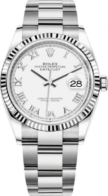 Rolex Datejust 36mm Stainless Steel 126234 White Roman Oyster