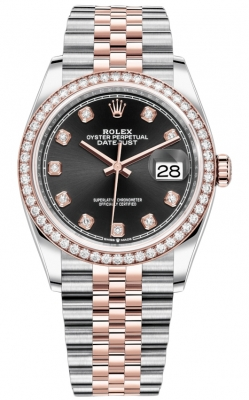 Rolex Datejust 36mm Stainless Steel and Rose Gold 126281RBR Black Diamond Jubilee