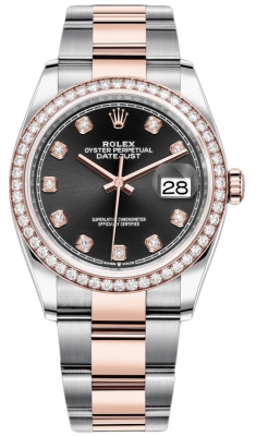 Rolex Datejust 36mm Stainless Steel and Rose Gold 126281RBR Black Diamond Oyster