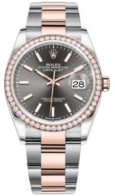 Rolex Datejust 36mm Stainless Steel and Rose Gold 126281RBR Dark Rhodium Index Oyster