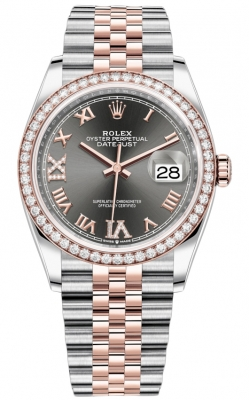 Rolex Datejust 36mm Stainless Steel and Rose Gold 126281RBR Dark Rhodium VI IX Roman Jubilee