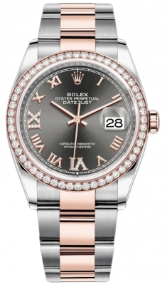 Rolex Datejust 36mm Stainless Steel and Rose Gold 126281RBR Dark Rhodium VI IX Roman Oyster