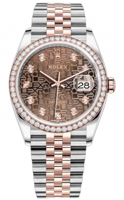 Rolex Datejust 36mm Stainless Steel and Rose Gold 126281RBR Jubilee Chocolate Diamond Jubilee