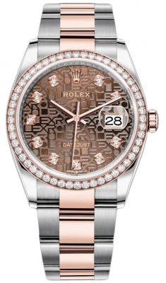 Rolex Datejust 36mm Stainless Steel and Rose Gold 126281RBR Jubilee Chocolate Diamond Oyster