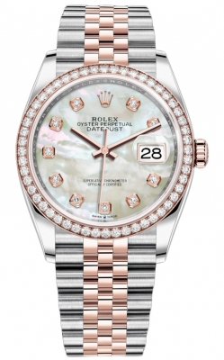 Rolex Datejust 36mm Stainless Steel and Rose Gold 126281RBR MOP Diamond Jubilee