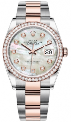 Rolex Datejust 36mm Stainless Steel and Rose Gold 126281RBR MOP Diamond Oyster