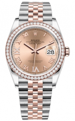 Rolex Datejust 36mm Stainless Steel and Rose Gold 126281RBR Rose VI IX Roman Jubilee