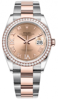 Rolex Datejust 36mm Stainless Steel and Rose Gold 126281RBR Rose VI IX Roman Oyster