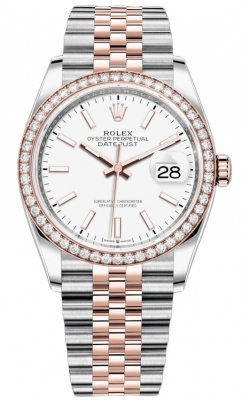 Rolex Datejust 36mm Stainless Steel and Rose Gold 126281RBR White Index Jubilee
