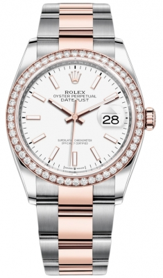 Rolex Datejust 36mm Stainless Steel and Rose Gold 126281RBR White Index Oyster