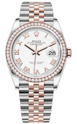 Rolex Datejust 36mm Stainless Steel and Rose Gold 126281RBR White Roman Jubilee