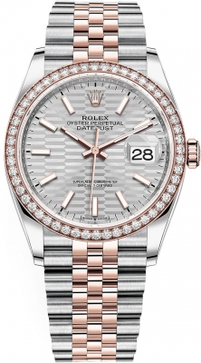 Rolex Datejust 36mm Stainless Steel and Rose Gold 126281rbr Silver Fluted Jubilee