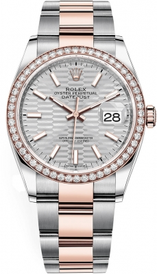 Rolex Datejust 36mm Stainless Steel and Rose Gold 126281rbr Silver Fluted Oyster