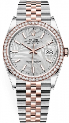 Rolex Datejust 36mm Stainless Steel and Rose Gold 126281rbr Silver Palm Jubilee