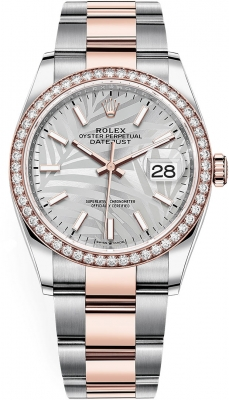 Rolex Datejust 36mm Stainless Steel and Rose Gold 126281rbr Silver Palm Oyster