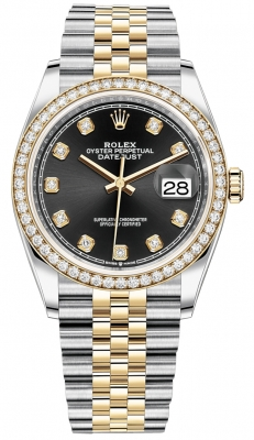 Rolex Datejust 36mm Stainless Steel and Yellow Gold 126283RBR Black Diamond Jubilee