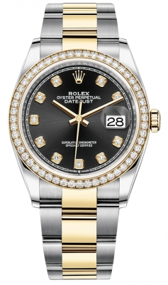 Rolex Datejust 36mm Stainless Steel and Yellow Gold 126283RBR Black Diamond Oyster
