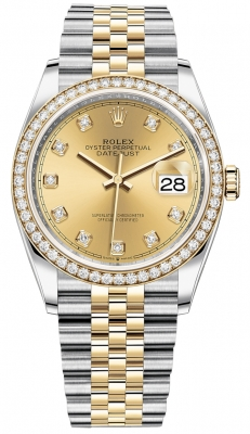 Rolex Datejust 36mm Stainless Steel and Yellow Gold 126283RBR Champagne Diamond Jubilee
