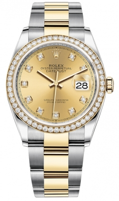 Rolex Datejust 36mm Stainless Steel and Yellow Gold 126283RBR Champagne Diamond Oyster