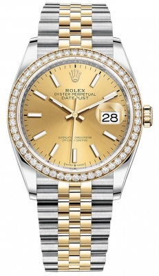 Rolex Datejust 36mm Stainless Steel and Yellow Gold 126283RBR Champagne Index Jubilee