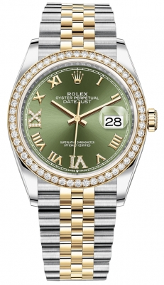 Rolex Datejust 36mm Stainless Steel and Yellow Gold 126283RBR Olive Green VI IX Roman Jubilee