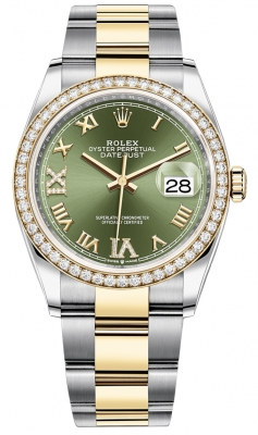 Rolex Datejust 36mm Stainless Steel and Yellow Gold 126283RBR Olive Green VI IX Roman Oyster