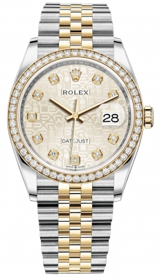 Rolex Datejust 36mm Stainless Steel and Yellow Gold 126283RBR Jubilee Silver Diamond Jubilee