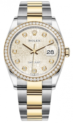 Rolex Datejust 36mm Stainless Steel and Yellow Gold 126283RBR Jubilee Silver Diamond Oyster