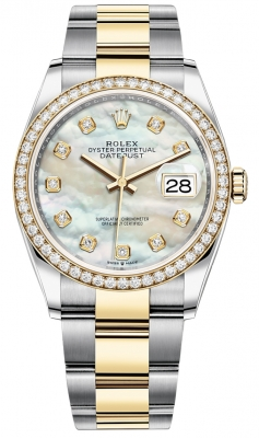 Rolex Datejust 36mm Stainless Steel and Yellow Gold 126283RBR MOP Diamond Oyster