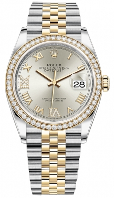 Rolex Datejust 36mm Stainless Steel and Yellow Gold 126283RBR Silver VI IX Roman Jubilee