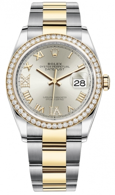 Rolex Datejust 36mm Stainless Steel and Yellow Gold 126283RBR Silver VI IX Roman Oyster