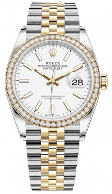 Rolex Datejust 36mm Stainless Steel and Yellow Gold 126283RBR White Index Jubilee