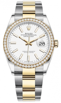 Rolex Datejust 36mm Stainless Steel and Yellow Gold 126283RBR White Index Oyster