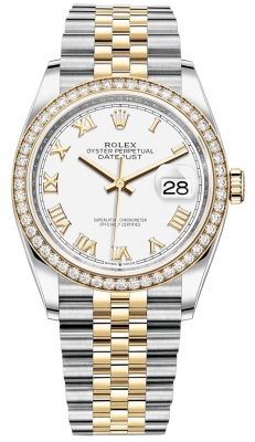 Rolex Datejust 36mm Stainless Steel and Yellow Gold 126283RBR White Roman Jubilee