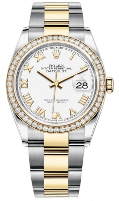 Rolex Datejust 36mm Stainless Steel and Yellow Gold 126283RBR White Roman Oyster