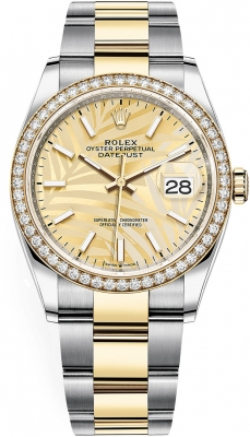 Rolex Datejust 36mm Stainless Steel and Yellow Gold 126283rbr Champagne Palm Oyster