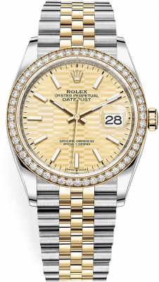 Rolex Datejust 36mm Stainless Steel and Yellow Gold 126283rbr Golden Fluted Jubilee