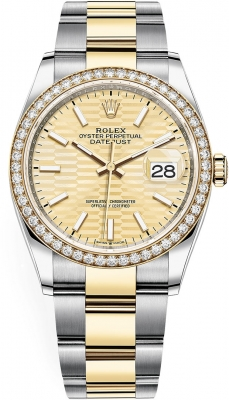 Rolex Datejust 36mm Stainless Steel and Yellow Gold 126283rbr Golden Fluted Oyster