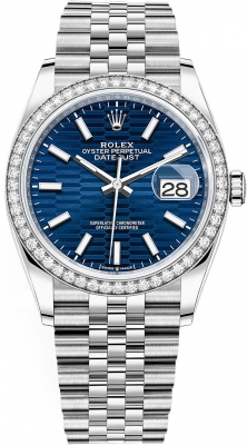 Rolex Datejust 36mm Stainless Steel 126284rbr Bright Blue Fluted Jubilee