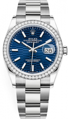 Rolex Datejust 36mm Stainless Steel 126284rbr Bright Blue Fluted Oyster